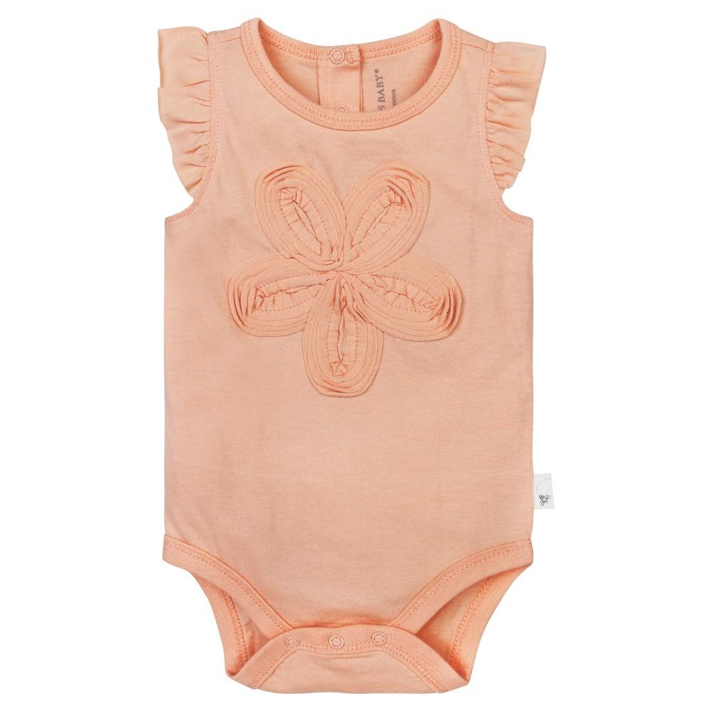 Burt's Bees Baby Girls' Frilly Flower Bodysuit – Orange 12M, Infant Girl's, Size: 12 M