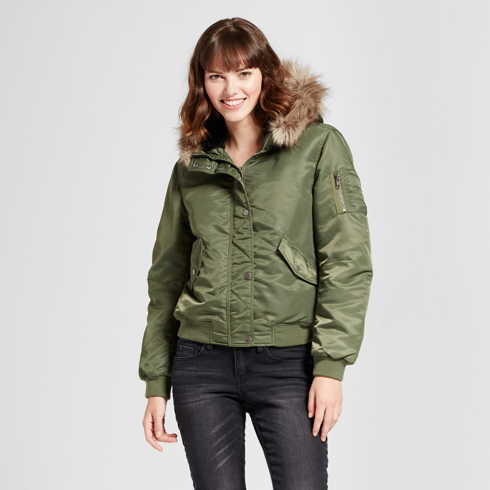Womens Bomber Puffer Jacket with Fur Hood - Mossimo Supply Co. Olive L, Green