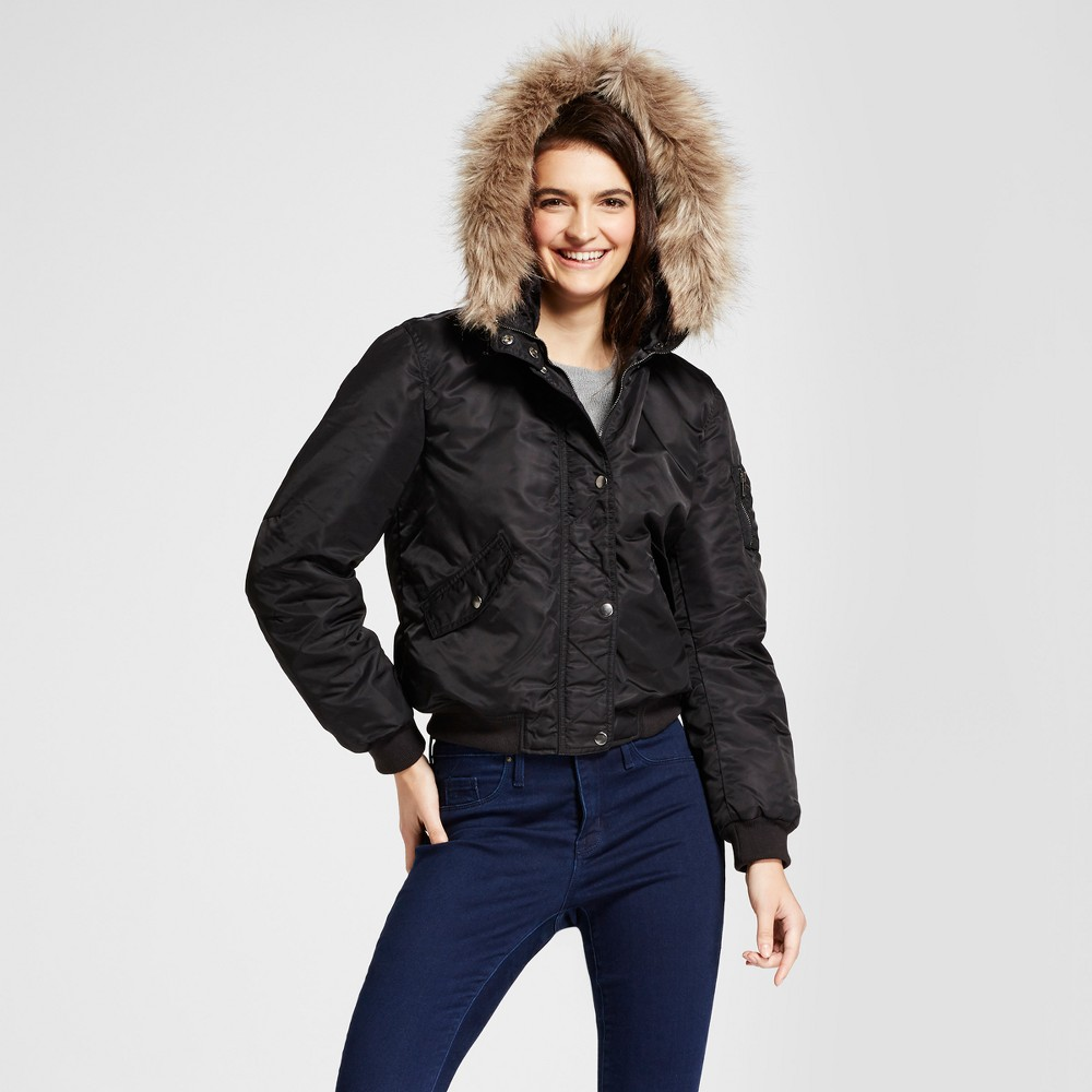 Womens Bomber Puffer Jacket with Fur Hood - Mossimo Supply Co. Black XS
