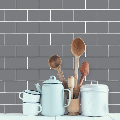 Devine Color Textured Subway Tile Peel Stick Wallpaper Gray Brickseek