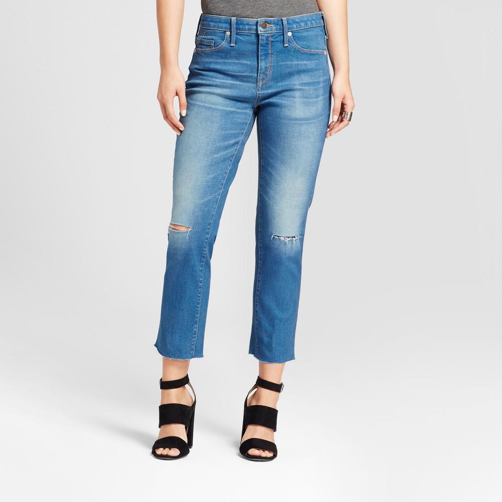 Womens Jeans High Rise Raw Hem Knee Slits - Mossimo Medium Wash 8 Long, Blue