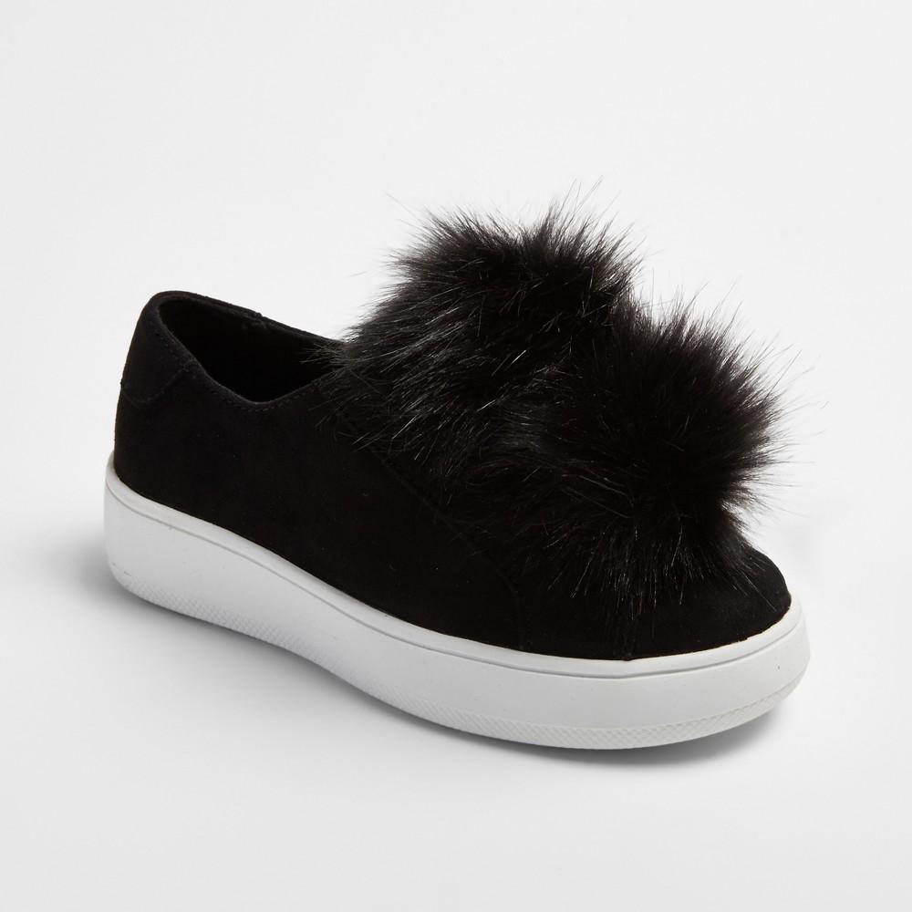 Girls Stevies #flufffy Pompom Sneakers - Black 5
