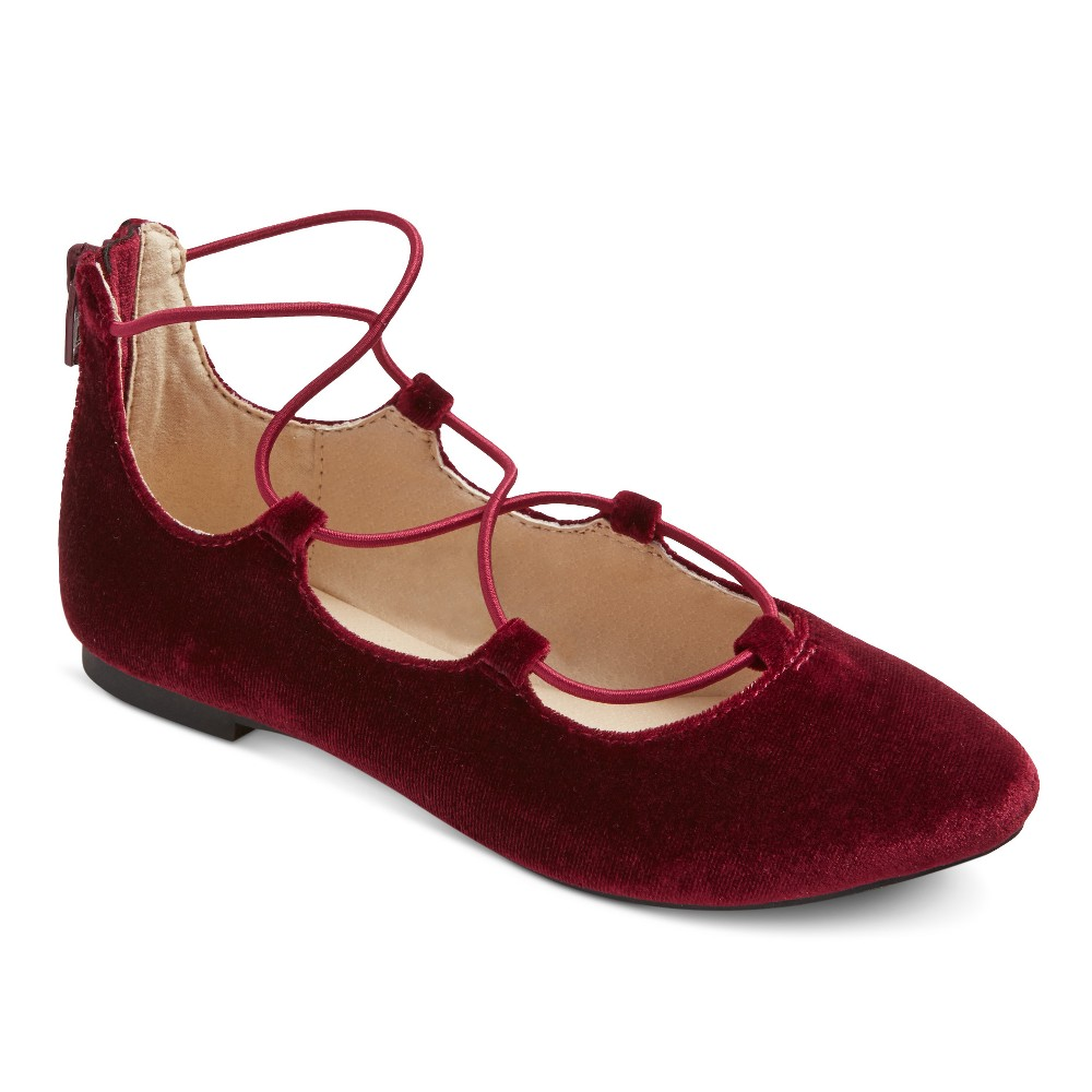 Girls Stevies #onpointe Laceup Ballet Flats - Burgundy (Red) 13