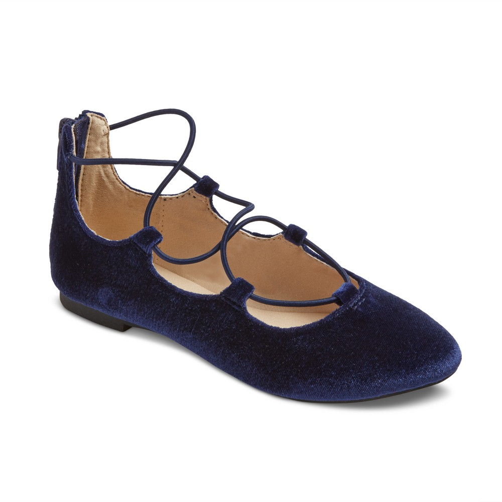 Girls Stevies #onpointe Laceup Ballet Flats - Navy (Blue) 1