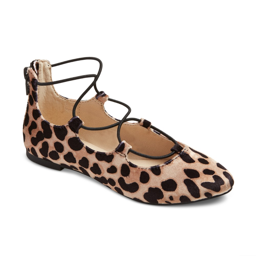 Girls Stevies #onpointe Laceup Burgundy Ballet Flats - Leopard 3