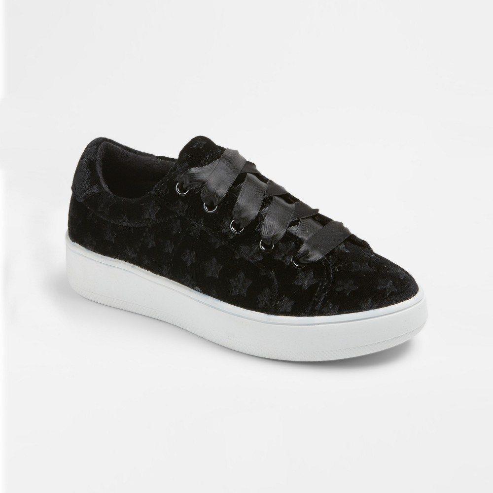 Girls Stevies #velvetkrush Velvet Star Sneakers - Black 1, Pink