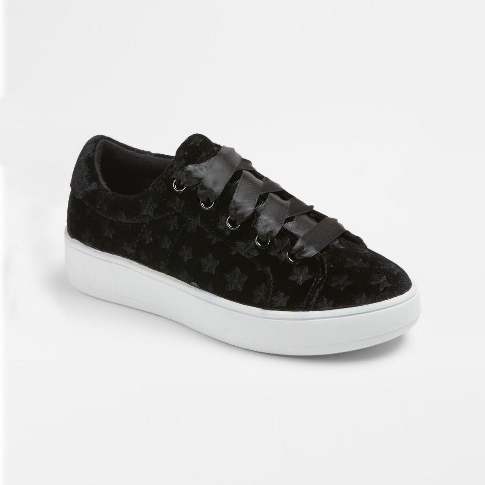 Girls Stevies #velvetkrush Velvet Star Sneakers - Black 3, Pink
