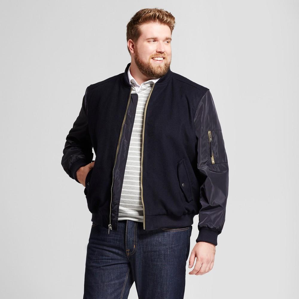 Mens Big & Tall Standard Fit Wool Bomber Jacket - Goodfellow & Co Navy 3XB, Blue