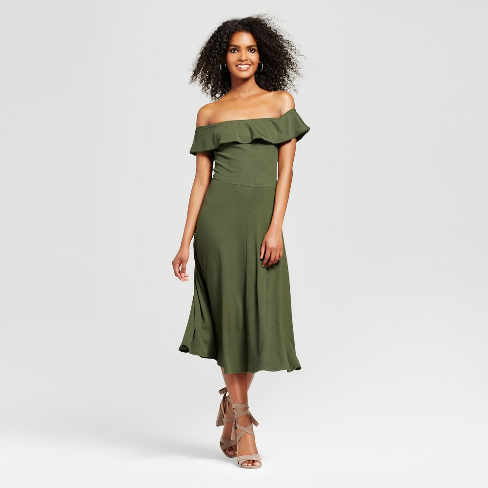 Women's Rib Bardot Dress - Who What Wear Olive (Green) L