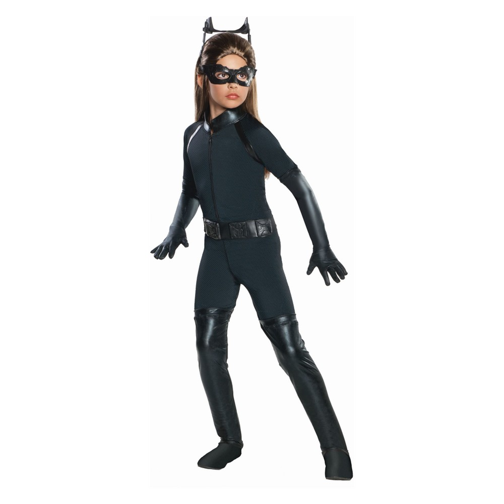 Girls DC Superhero Catwoman Deluxe Costume - M (7-8), Multicolored
