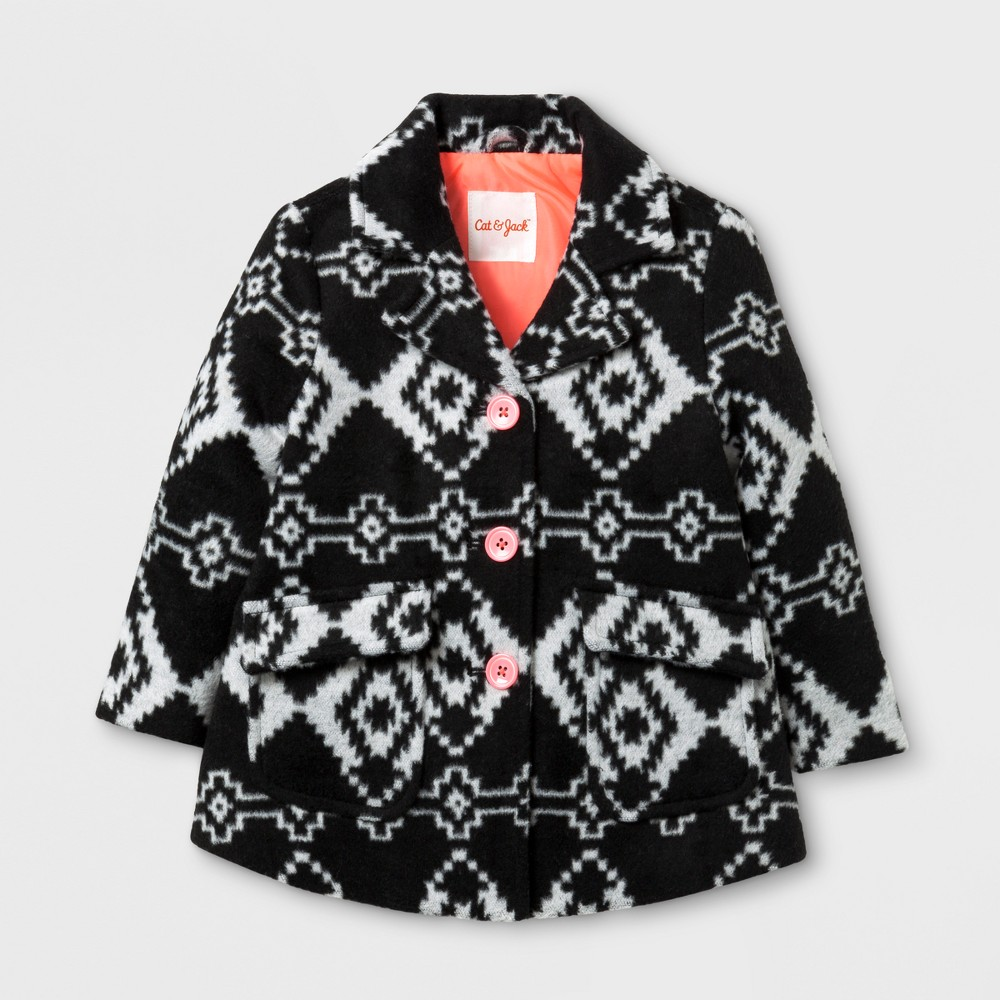 Toddler Girls Dress Coat - Cat & Jack Black/White Print 12M