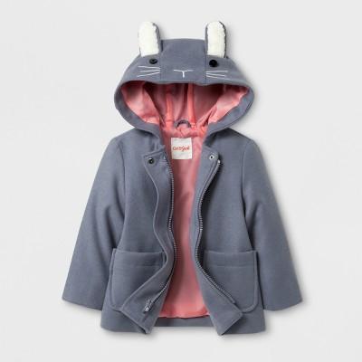 Toddler Girls' Bunny Ears Pea Coat - Cat & Jack™ Gray 12M