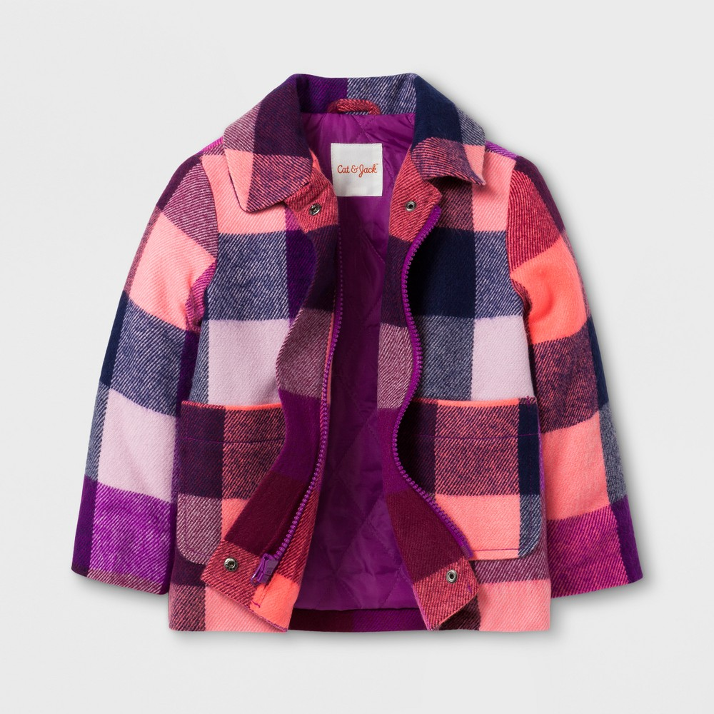 Toddler Girls Plaid Dress Coat Cat & Jack Purple 3T