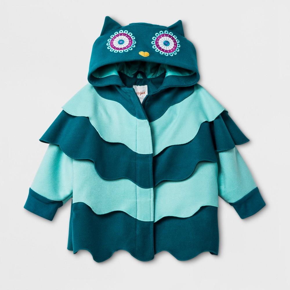 Toddler Girls Cape with Owl Hood Jacket Cat & Jack - Teal 18M, Blue