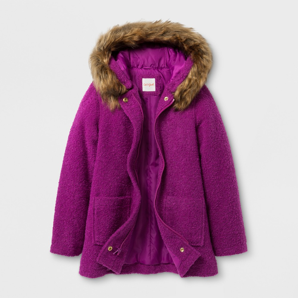 Girls Faux Wool Hooded Jacket - Cat & Jack Purple XS