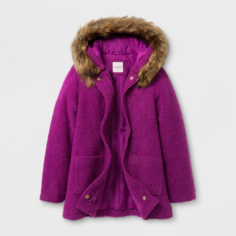 Girls Faux Wool Hooded Jacket - Cat & Jack Purple L