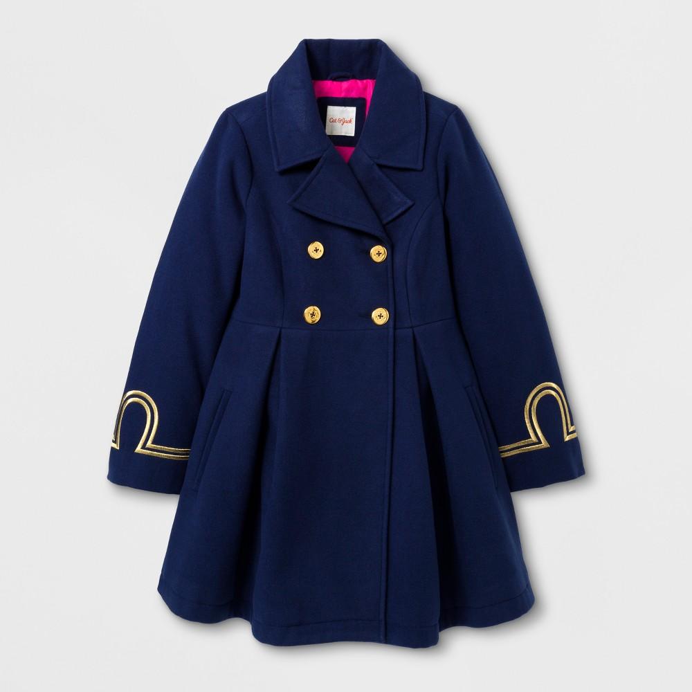 Girls Faux Wool Military Jacket - Cat & Jack Navy XL, Blue