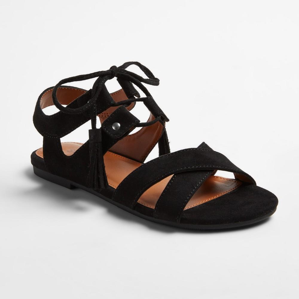 Girls Stevies #athenia Tassal Ghillie Sandals - Black 4, Size: 2