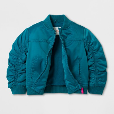 Toddler Girls' Bomber Jacket - Cat & Jack™ Teal Blue 2T