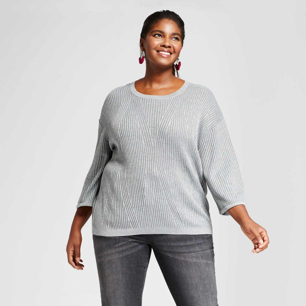 Womens Plus Size 3/4 Sleeve Shine Pullover - Ava & Viv Silver 2X