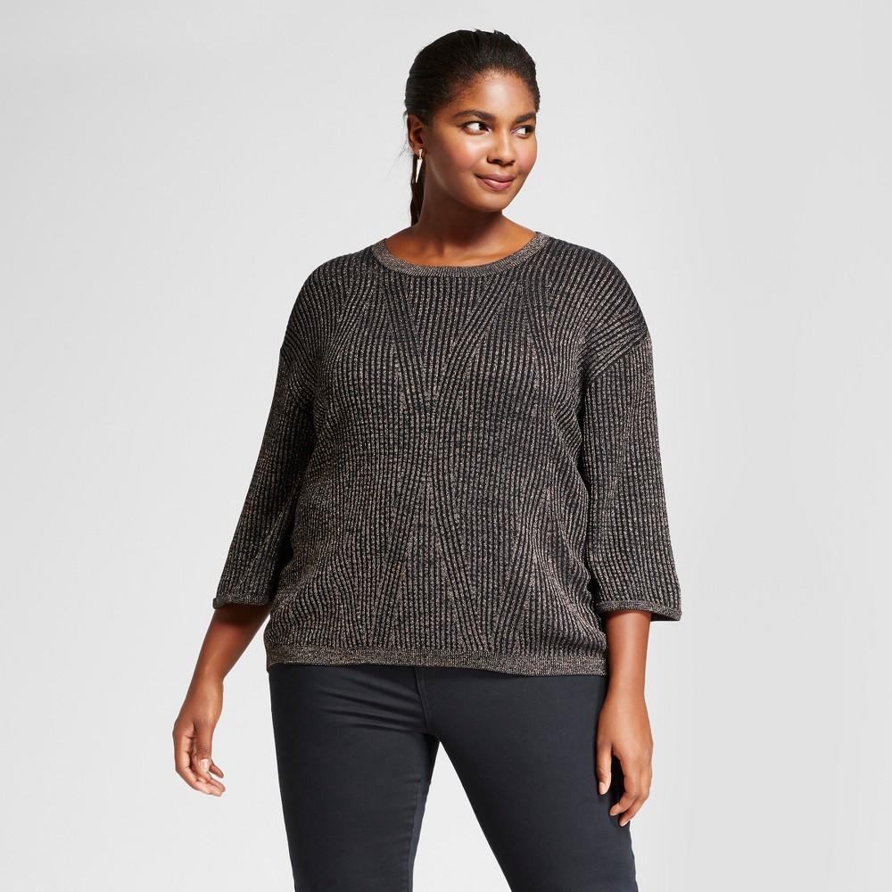 Womens Plus Size 3/4 Sleeve Shine Pullover - Ava & Viv Gold 3X