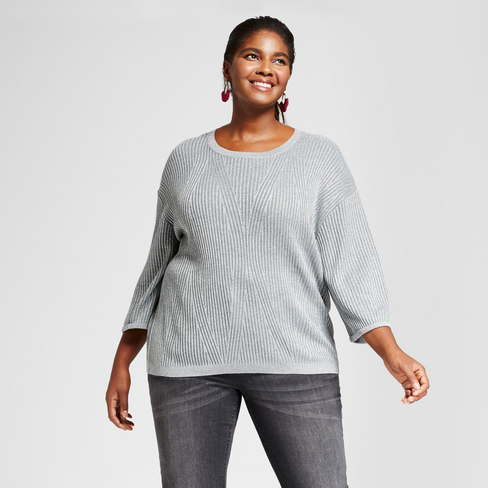Womens Plus Size 3/4 Sleeve Shine Pullover - Ava & Viv Silver 1X