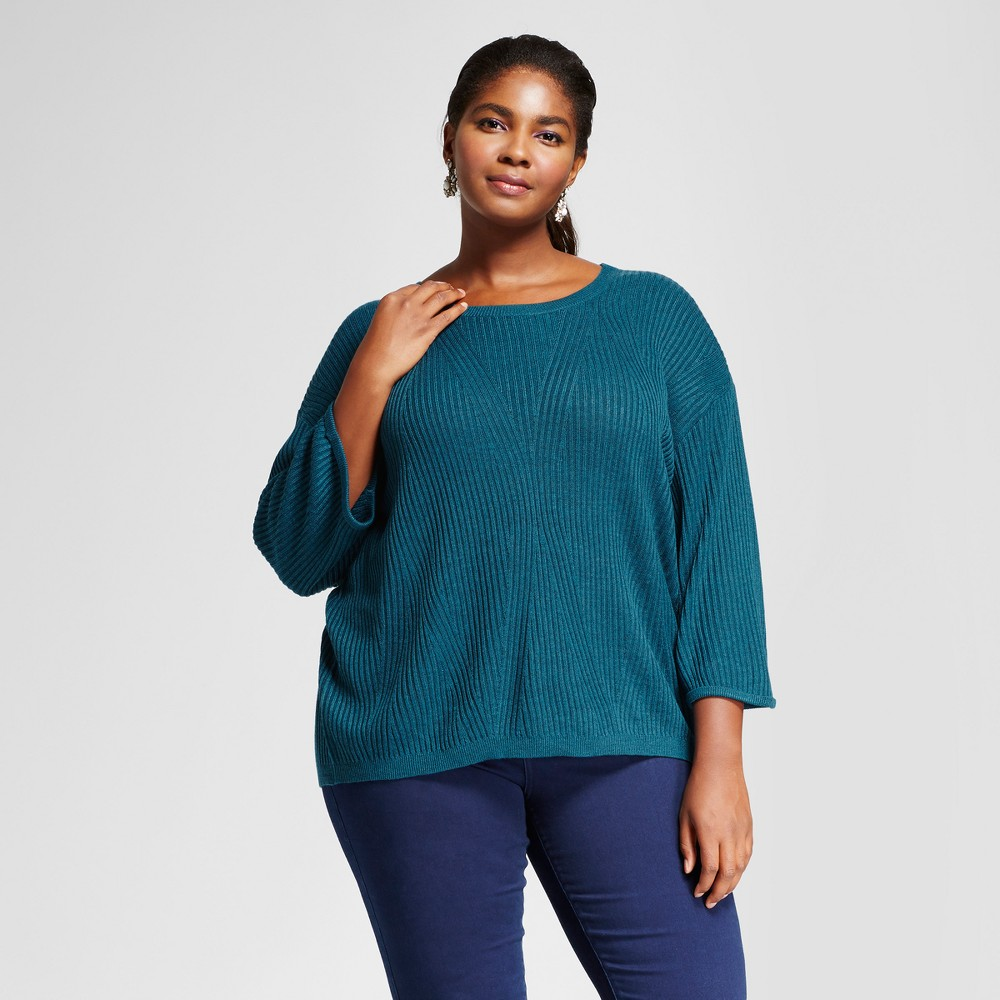Women's Plus Size 3/4 Sleeve Pullover - Ava & Viv Teal 2X, Blue