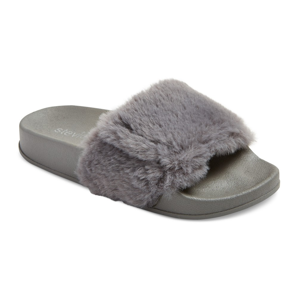 Girls Stevies #fauxreal Faux Fur Slide Sandals - Gray 4