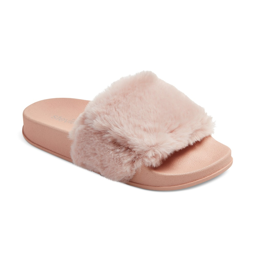 Girls Stevies #fauxreal Faux Fur Slide Sandals - Pink 5