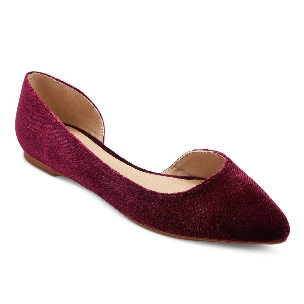 Women's d'Orsay Mohana Wide Width Ballet Flats - Mossimo Supply Co. Burgundy (Red) 8W, Size: 8 Wide