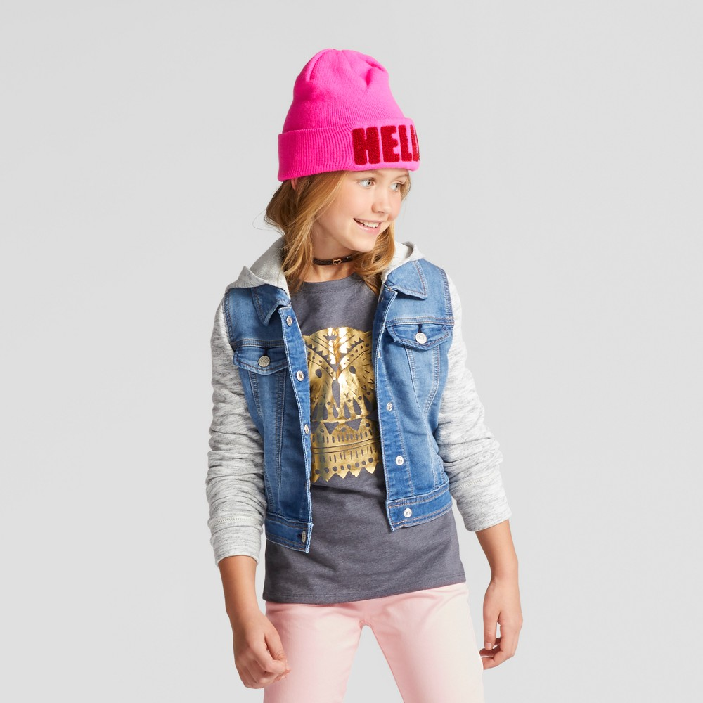 Girls French Terry Jean Jacket with Ears - Cat & Jack Medium Blue S