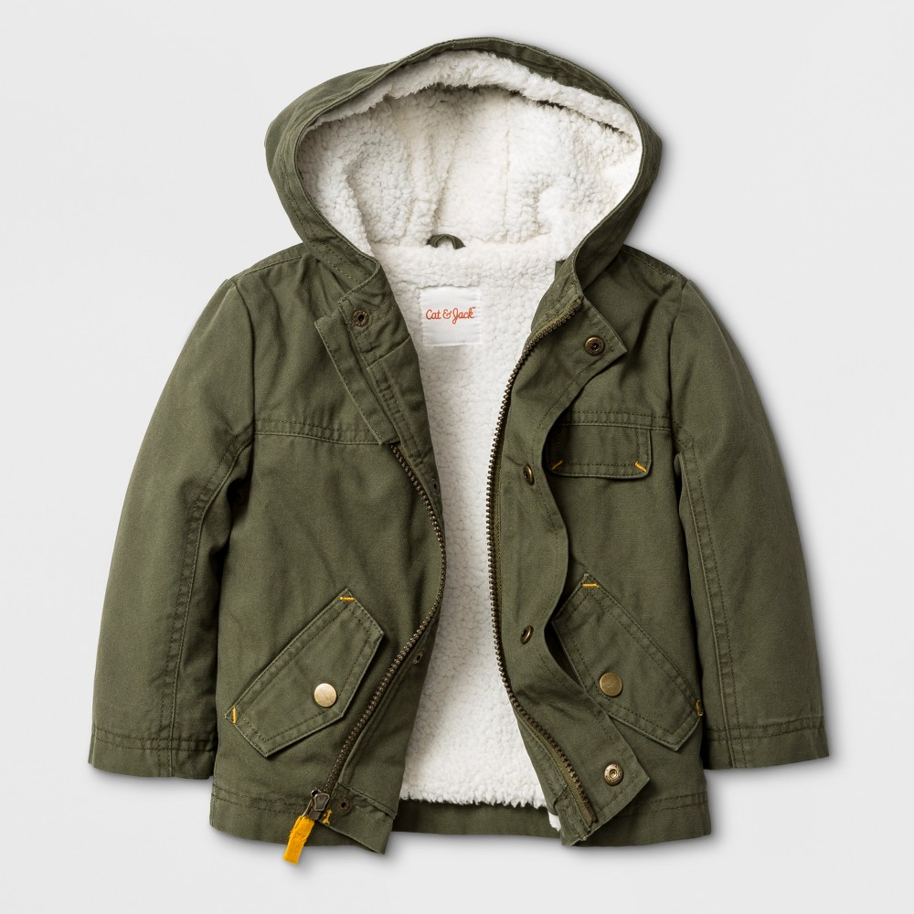 Toddler Boys Overcoat with Sherpa Lining - Cat & Jack Green 12M
