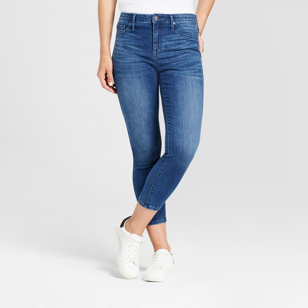 Womens High Rise Crop Jeggings - Mossimo Dark Blue 14