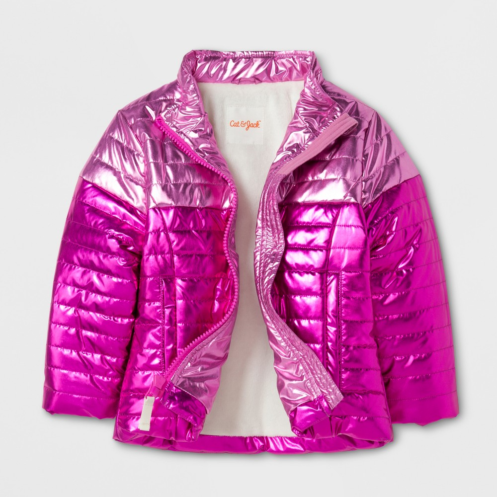 Toddler Girls Puffer Jacket Cat & Jack - Pink 3T