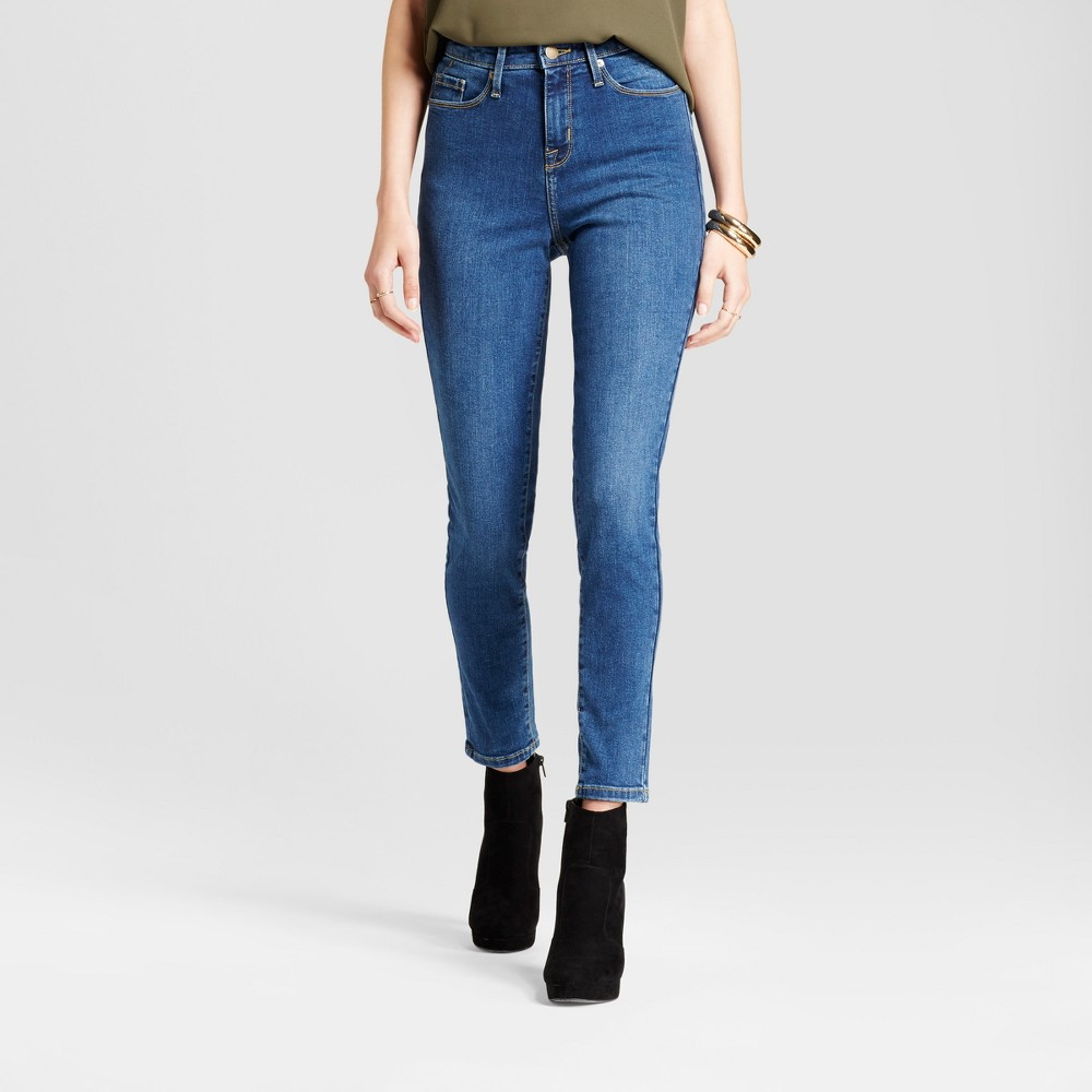 Womens Jeans Highest Rise Skinny - Mossimo Medium Wash 0 Short, Blue