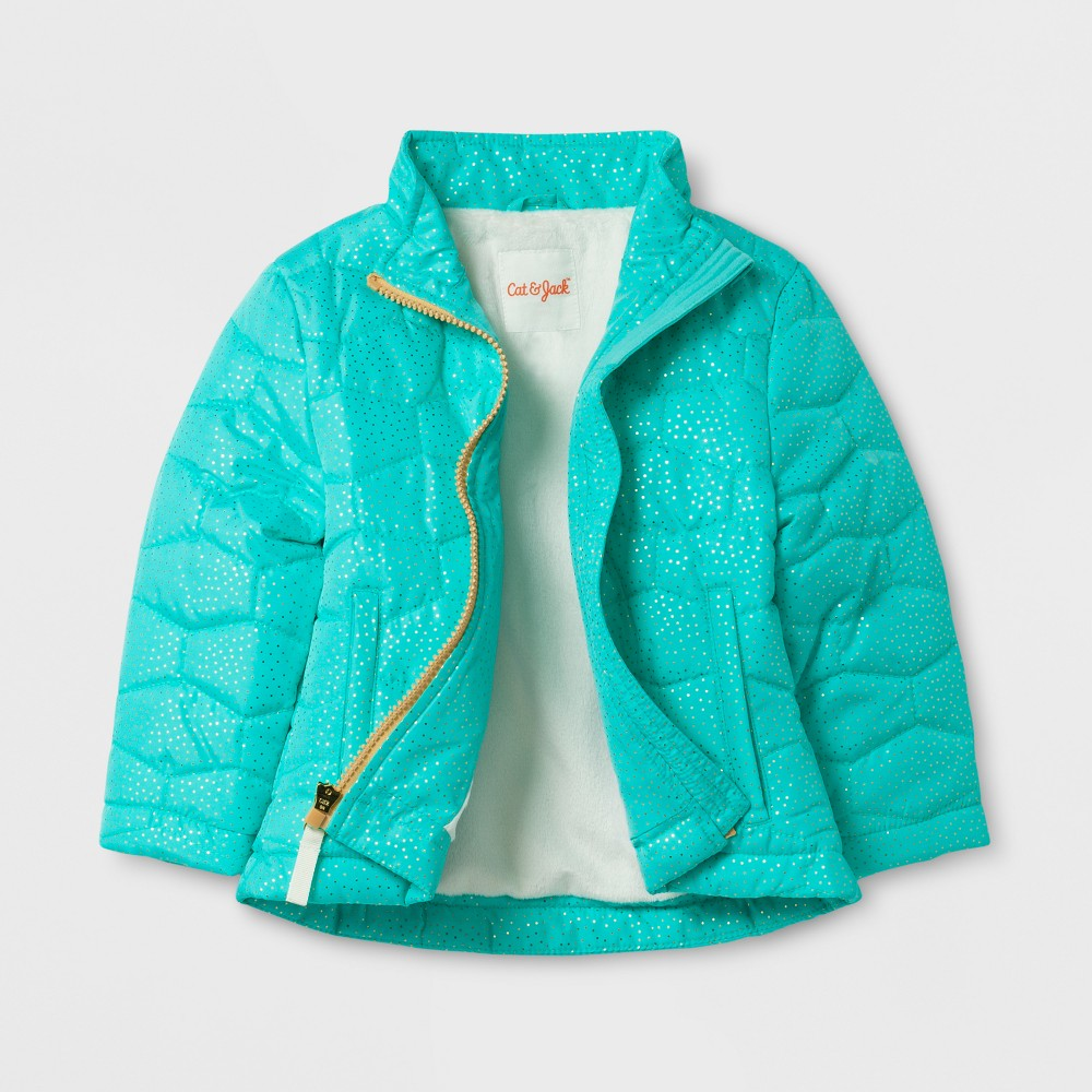 Toddler Girls Puffer Jacket Cat & Jack - Aqua 2T, Blue