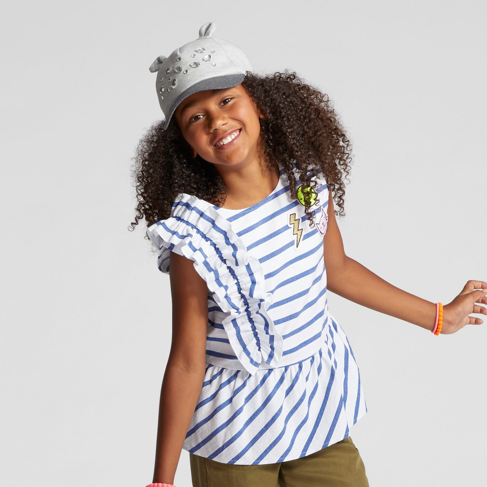 Girls Short Sleeve Side Ruffle Woven Top - Cat & Jack Navy XS, Blue