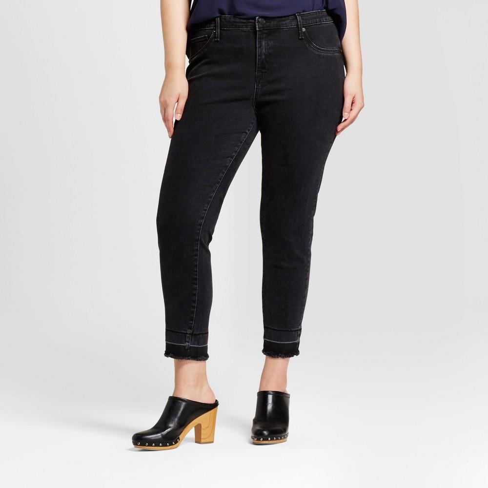 Womens Plus Size Crop Jeggings - Ava & Viv Black 16W