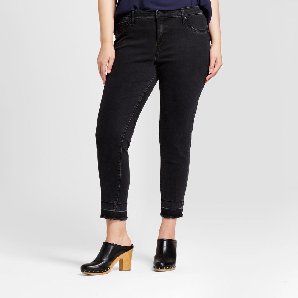 Womens Plus Size Crop Jeggings - Ava & Viv Black 18W