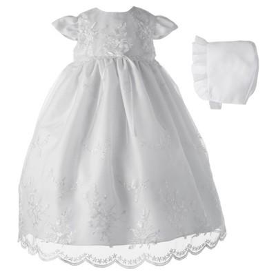 Baby Girls' Small World Organza Christening Dress & Bonnet Set - White 0-3M