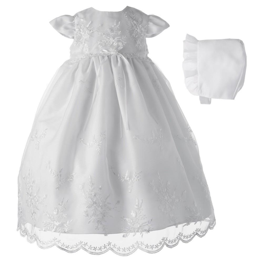 Baby Girls Small World Organza Christening Dress & Bonnet Set - White 0-3M, Size: 0-3 M