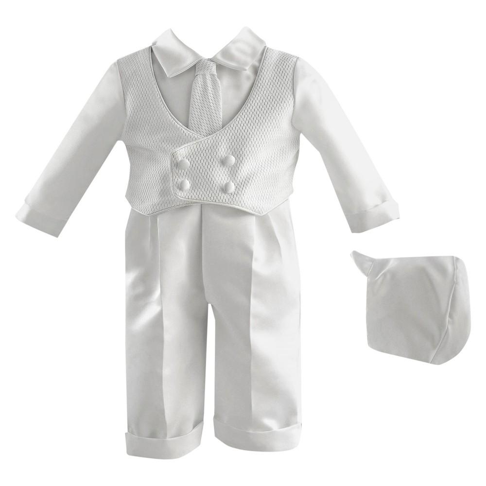 Baby Boys Small World 4-Piece Satin Christening Long Pants Set - White 9-12M, Size: 9-12 M