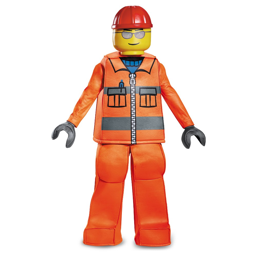 Boys Lego Construction Worker Prestige Deluxe Costume - L (10-12), Multicolored