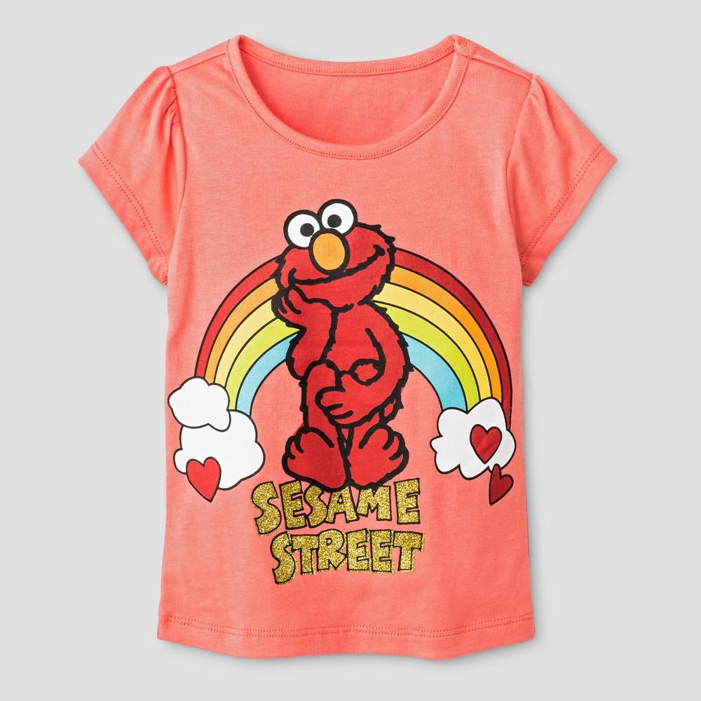 Toddler Girls Elmo T-Shirt Sesame Street - Orange 2T