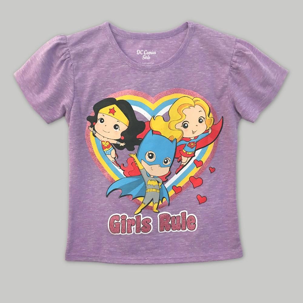 Toddler Girls Justice League Short Sleeve T-Shirt Warner Bros. Lavender 4T, Purple