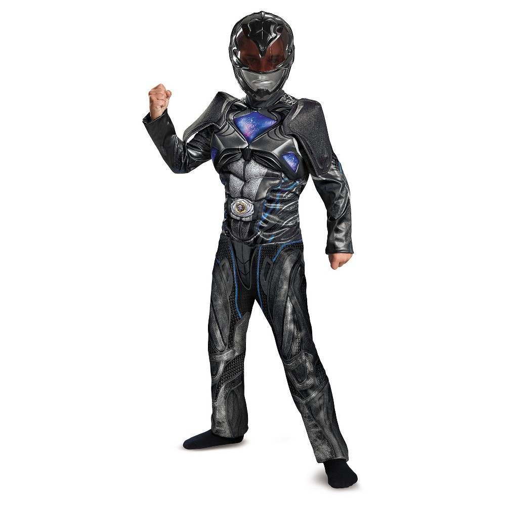 Boys Power Rangers Black Ranger Deluxe Costume - M (7-8)
