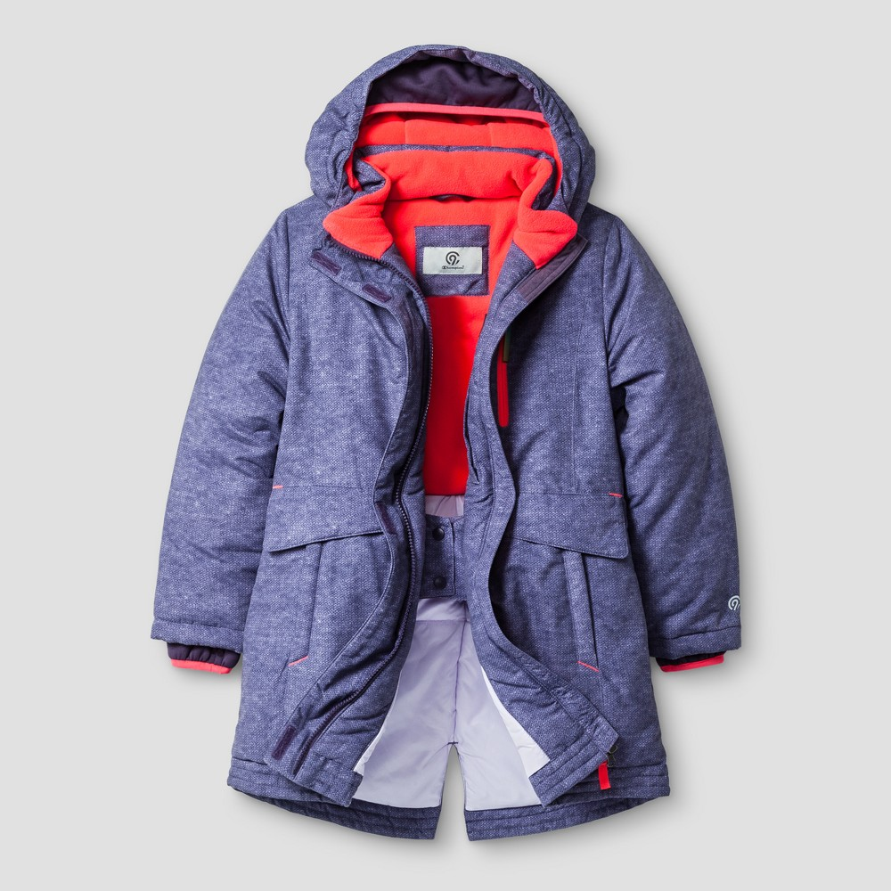 Girls' Outerwear Coats And Parka Jackets - C9 Champion XS Purple Find Jackets and Vests at Target.com! The Girls' Parka Jacket from C9 Champion is an insulated jacket with water resistant technology, hand warmers and an internal snow skirt to keep you dry and comfortable. Zip pockets and a media pocket add convenience to this versatile winter jacket made for cold conditions. Size: Xs. Color: Purple. Gender: Female. Age Group: Kids. Pattern: Space dye design. Material: Polyester.