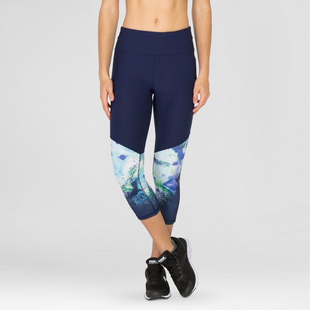 Women's Yoga Capri with Waterlily Print – Navy (Blue) S – Rbx