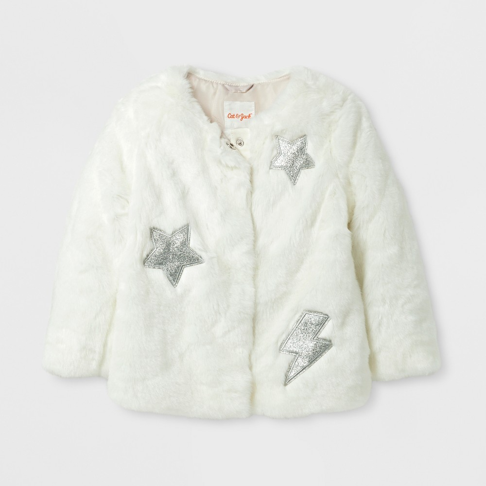 Toddler Girls Faux Fur Jacket - Cat & Jack Cream 3T, White