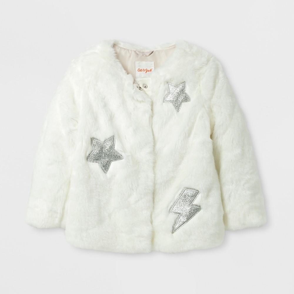 Toddler Girls' Faux Fur Jacket - Cat & Jack Cream 4T, White